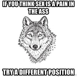 Sarcastic Wolf - If you think sex is a pain in the ass try a different position