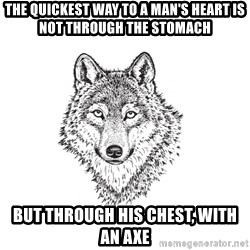Sarcastic Wolf - The quickest way to a man's heart is not through the stomach but through his chest, with an axe