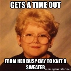 60 year old - Gets a Time Out From Her Busy Day to Knit a Sweater