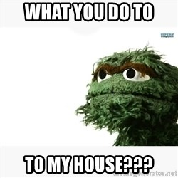 Oscar the grouch meme - what you do to  to my house???