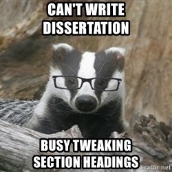Nerdy Badger - can't write             dissertation busy tweaking                 section headings
