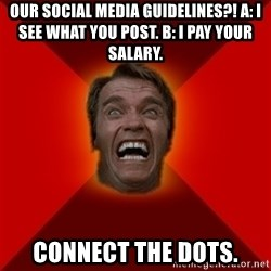 Angry Arnold - OUR SOCIAL MEDIA GUIDELINES?! A: I SEE WHAT YOU POST. B: I PAY YOUR SALARy. Connect the dots.