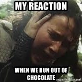 Screaming Katniss - my reaction when we run out of chocolate