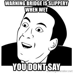 Really you dont say - warning bridge is slippery when wet you dont say