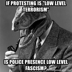 """Real_Life_Philosoraptor - if protesting is """"low level terrorism"""" is police presence low level fascism?"""