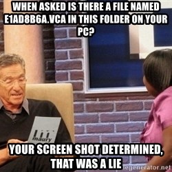Maury Lie Detector - when asked Is there a file named e1ad8b6a.vca in this folder on your PC? Your screen shot determined, that was a lie