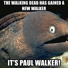Bad Joke Eel v2.0 - The walking dead has gained a new walker it's paul walker!