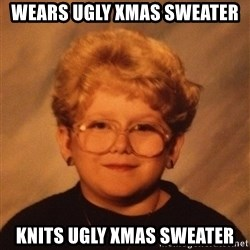60 Year-Old Girl - wears ugly xmas sweater knits ugly xmas sweater