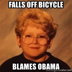 60 Year-Old Girl - falls off bicycle blames obama