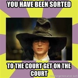 Harry Potter Sorting Hat - YOU HAVE BEEN SORTED TO THE COURT GET ON THE COURT
