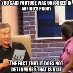 Maury Lie Detector - You said youtube was unlocked in aveiro's proxy the fact that it does not determines that is a lie