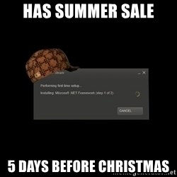 Scumbag Steam - Has summer sale 5 days before christmas