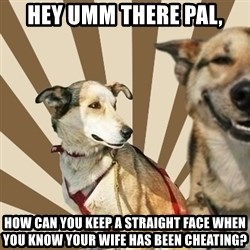 Stoner dogs concerned friend - hey umm there pal, how can you keep a straight face when you know your wife has been cheating?