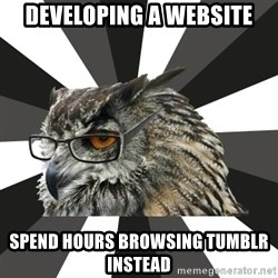 ITCS Owl - Developing a website spend hours browsing tumblr instead