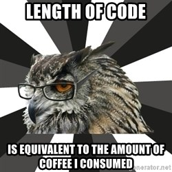 ITCS Owl - Length of code is equivalent to the amount of coffee I consumed