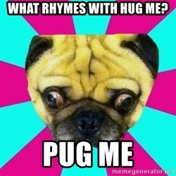Perplexed Pug - What rhymes with hug me? Pug me