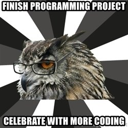 ITCS Owl - finish programming project celebrate with more coding