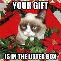 Grumpy Christmas Cat - Your Gift Is in the litter box