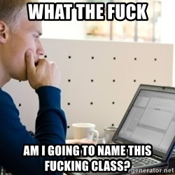 Computer Programmer - What the fuck am I going to name this fucking class?