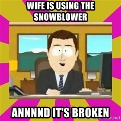 annd its gone - wife is using the snowblower annnnd it's broken