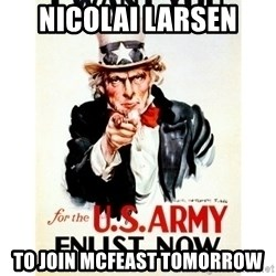 I Want You - NICOLAi Larsen to join mcfeast TOMORROW