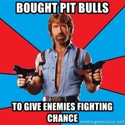 Chuck Norris  - bought pit bulls to give enemies fighting chance