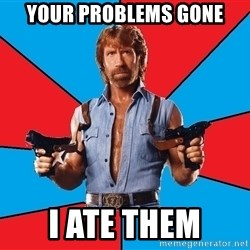 Chuck Norris  - your problems gone i ate them
