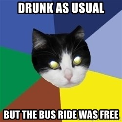 Winnipeg Cat - drunk as usual but the bus ride was free