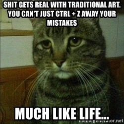 Depressed cat 2 - Shit gets real with traditional art. You can't just ctrl + z away your mistakes much like life...