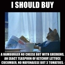 i should buy a boat cat - I should buy a hamburger no cheese but with gherkins, an exact teaspoon of Ketchup, lettuce cucumber, no mayonaisse but 3 tomatoes.