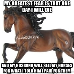 Typical horse model collector - My greatest fear is that one day i will die and my husband will sell my horses for what i told him i paid for them