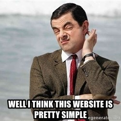 Mr Bean Sarcastic -  Well i think this website is pretty simple