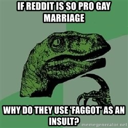 Philosoraptor - if reddit is so pro gay marriage why do they use 'faggot' as an insult?