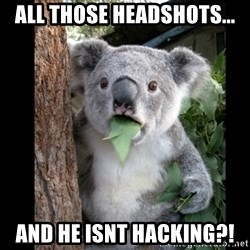 Koala can't believe it - All those headshots... and he isnt hacking?!