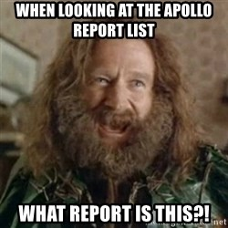What Year - When looking at the Apollo Report List WHat report is this?!