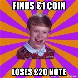 Unlucky Brian Strikes Again - finds £1 coin loses £20 note