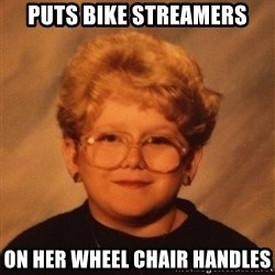 60 Year-Old Girl - puts bike streamers on her wheel chair handles