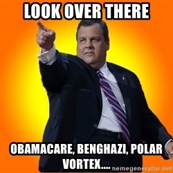 Chris Christie Blame Bouncer - Look over there obamacare, benghazi, polar vortex....