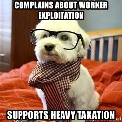 hipster dog - complains about worker exploitation supports heavy taxation