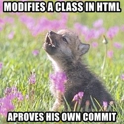 Baby Insanity Wolf - modifies a class in html aproves his own commit