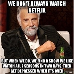 Dos Equis Guy gives advice - We don't always watch Netflix But when we do, we find a show we like watch all 7 seasons in two days, then get depressed when it's over