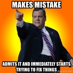 Chris Christie Blame Bouncer - Makes mistake Admits it and immediately starts trying to fix things