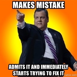 Chris Christie Blame Bouncer - Makes mistake Admits it and immediately starts trying to fix it