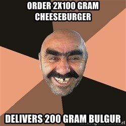 Provincial Man - Order 2x100 gram cheeseburger Delivers 200 gram bulgur