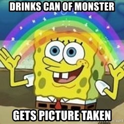 Spongebob - Drinks Can of Monster Gets picture taken