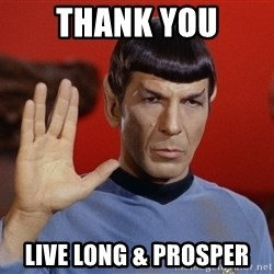 spockie 2 - thank you live long & prosper