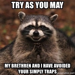 racoon - Try as you may My brethren and I have avoided your simply traps