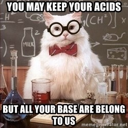 Chemistry Cat - You may keep your acids but all your base are belong to us