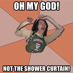 Scared Bekett - oh my god! not the shower curtain!