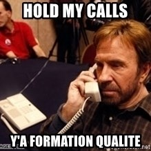 Chuck Norris on Phone - hold my calls y'a formation qualite